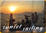 sunset in Phuket while sailing on a boat